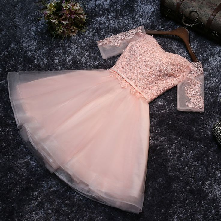 Pink tulle lace short prom dress, lace evening dress from Little Cute