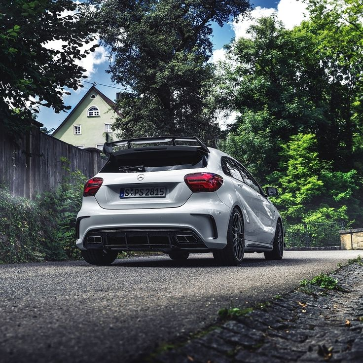 Make Monday a fun day with the Mercedes-AMG A 45.  Photos: @ranier_fernandez_photography for #MBsocialcar  #MercedesAMG #Mercedes #AMG #DrivingPerformance #CompactCar [Mercedes-AMG A 45 4MATIC | Fuel consumption combined: 7.3–6.9 l/100 km | combined CO2 emissions: 171–162 g/km]