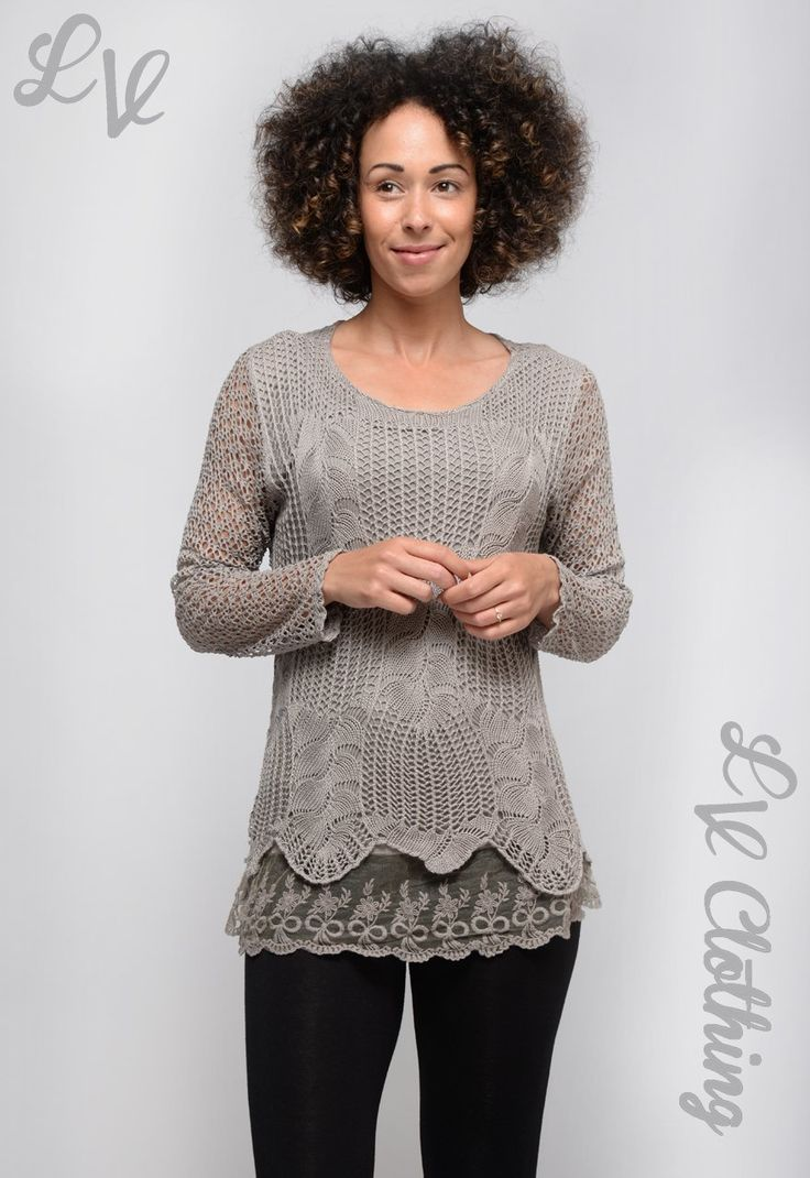 Lace overlay effect long sleeve knitted top