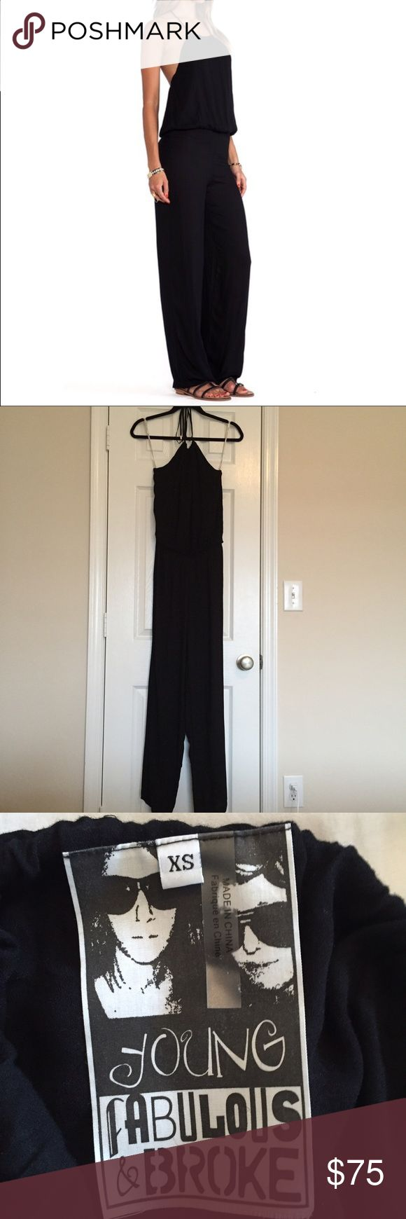 Young Fabulous & Broke Drea Jumpsuit XS One piece Young fabulous & broke jumpsuit.  No stains or rips.  Only worn a couple of times.  100% rayon, halter tie, elastic waist. Young Fabulous & Broke Other