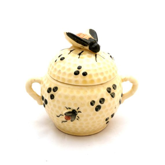 Vintage Honey Pot Ceramic Jar With Bee Lid Yellow Pottery