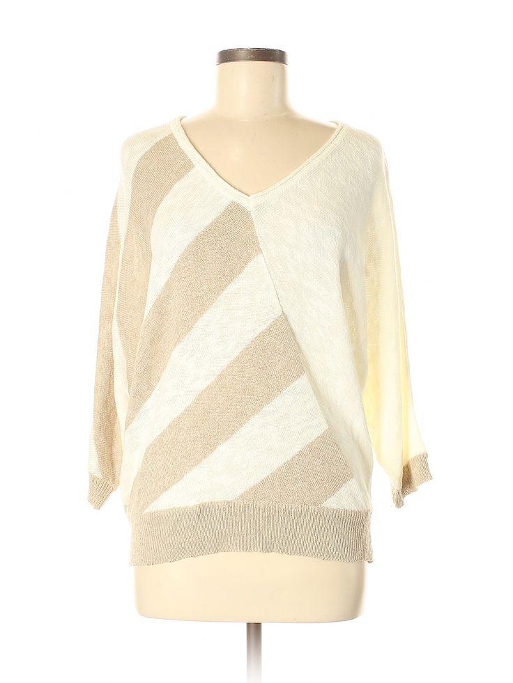 Chico's Pullover Sweater (1): Beige Stripes V Neck Women's Tops – Size Medium