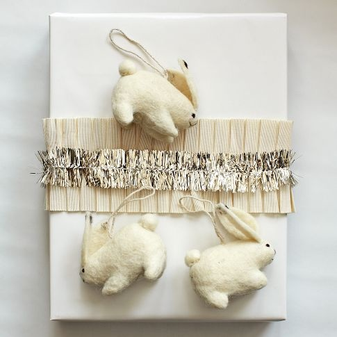 Felt Bunny Ornament   west elm