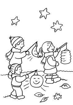 ausmalbild kindergarten: kinder beim laternenumzug