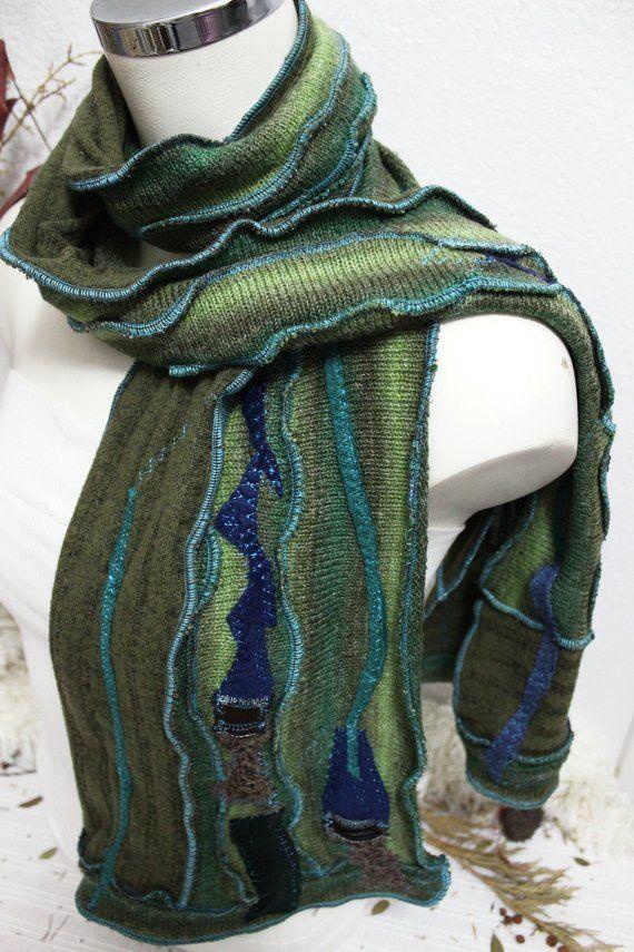 Men green scarf, Male Unique Scarf, Handmade boho scarf, Patchwork