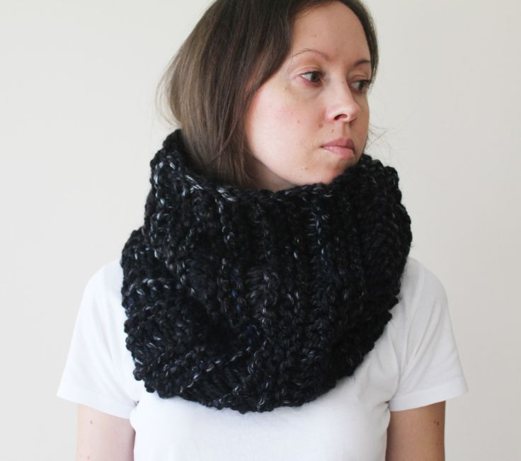 Black Knitted Chunky Cowl Gift For Him Scarf neckwarmer Womens Mens Chunky Cowl scarf Black Knit Cowl-Loop Scarf-Knitted  Hood-Ready To Ship by GaDeCreations on Etsy