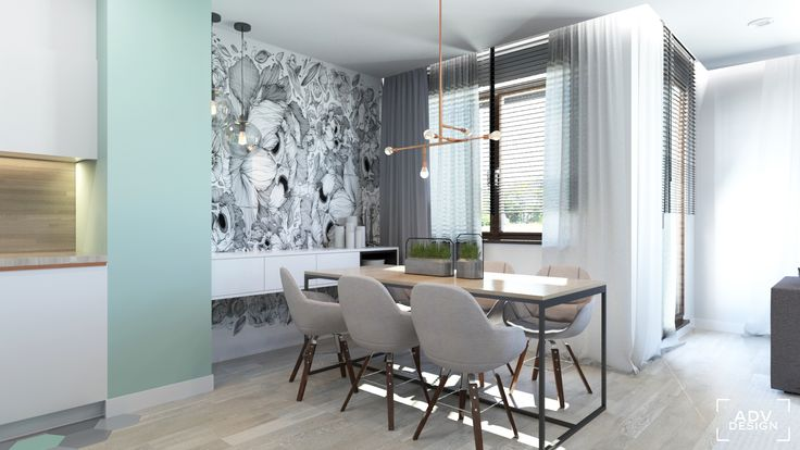 www.advdesign.pl 63m2_8 dining room kitchen wallpaper pendant lambert&fils hexagon mint grey