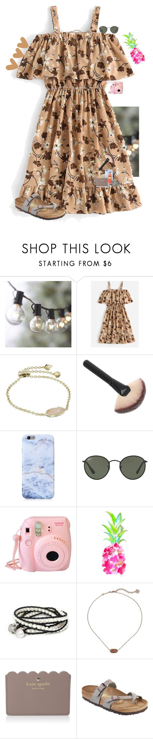 """••"" by mackenzielacy814 on Polyvore featuring Crate and Barrel, Kendra Scott, Ray-Ban, Fujifilm, WALL, NOVICA, Kate Spade and Birkenstock"