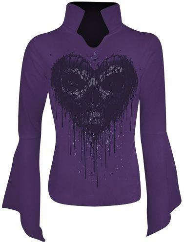 Tee Shirt Manches Longues Femme Spiral DARK WEAR - Dripping Heart - http://rockagogo.com