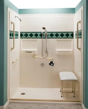 What is included in a bathroom designed for handicapped people?
