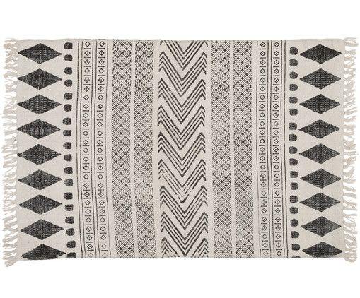 Handbedruckter Teppich Block, Schwarz, Creme