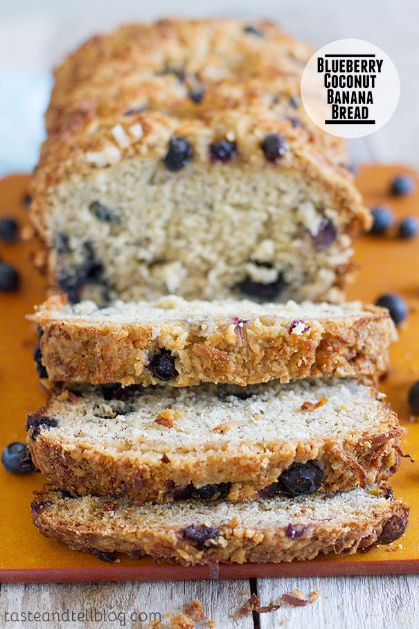 Blueberry Coconut Banana Bread Recipe ~ filled with blueberries and coconut and topped with a crunchy streusel topping.