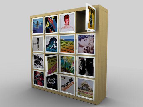 Rekordit™is a frame for inserting and displaying record sleeves, and is designed to fit the popular Expedit™ shelving system from Ikea™