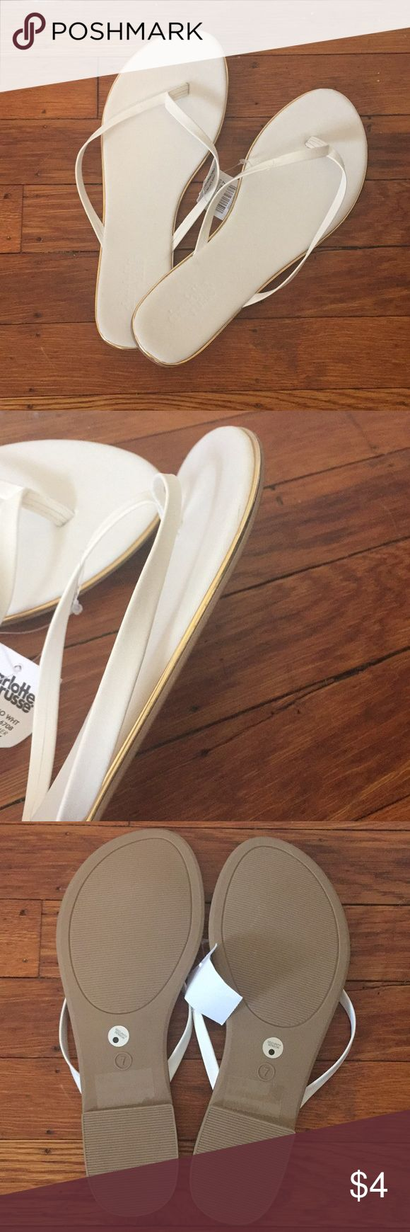 Charolette russe white and gold flip flops Never worn! Still have tags on. Perfect condition. Shoes Sandals