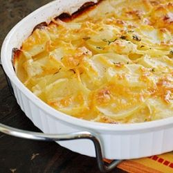 Skinny Scalloped Potatoes Gratin- a delicious and low fat version of a Thanksgiving classic.