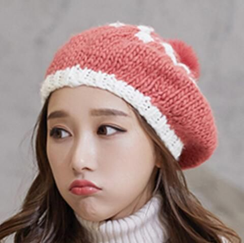 f06e5ca6e36 Color block knit beret hat with pom pom for women autumn winter barrette hat