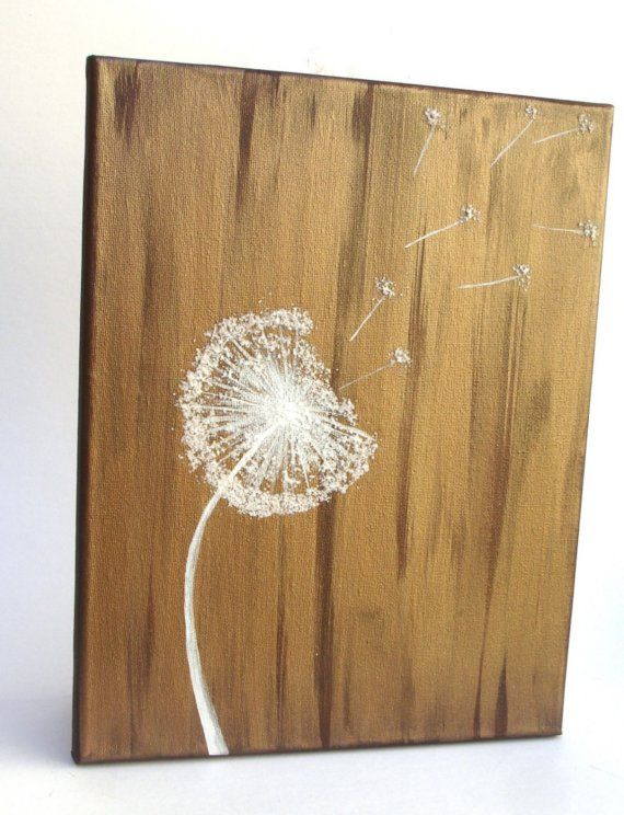 Dandelion in the Wind - Original Mixed Media Painting on 11 x 14 Canvas14 Canvas