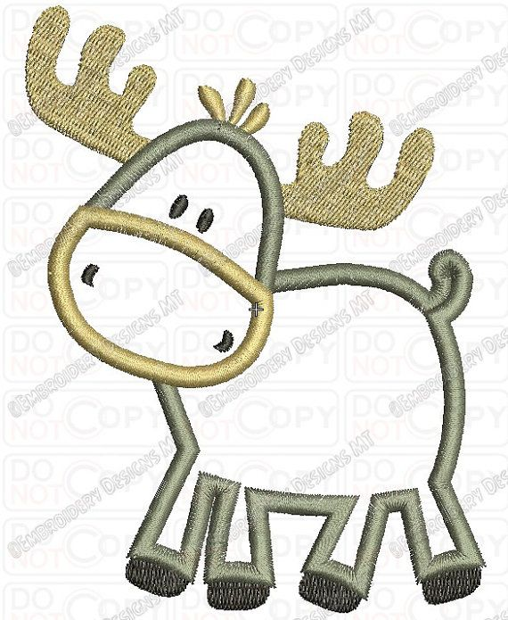 Childish moose applique embroidery design in and
