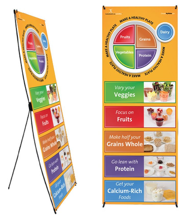 "My Plate Photo Banner Stand 24"" X 62"" Health Fair Banner"
