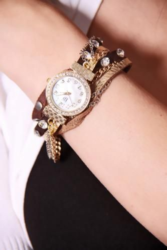 Brown Gold Faux Leather Chain Wrap Around Watch
