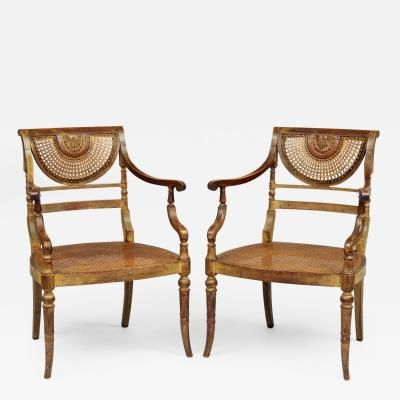 Pair English Regency Mahogany Painted Caned Armchairs Circa 1820
