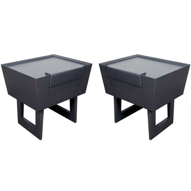 GOOD SIZE!!!  Pair of Modernist Grey Cerused Oak End Tables/Night Stands Designed Paul Laszlo | From a unique collection of antique and modern night stands at http://www.1stdibs.com/furniture/tables/night-stands/