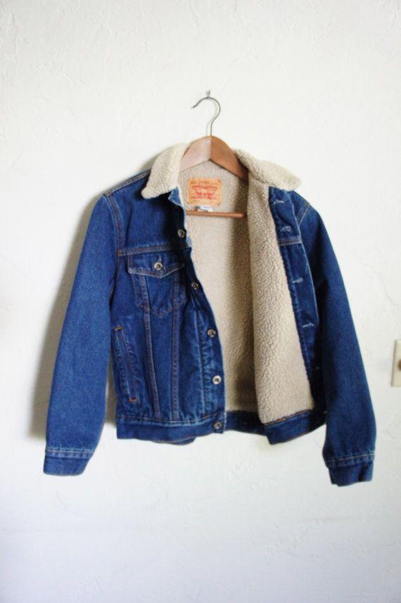 Vintage 90er Levi Strauss faux Schafspelz gefütterte Jeansjacke / Oberbekleidung / Unisex / M Frauen / Männer