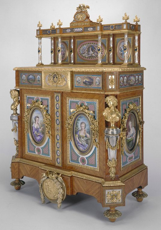 The Royal Collection: Cabinet Creator: Edouard Kreisser (active 1843-63) (cabinet maker) Creation Date:  1854 - 1855 Materials: Tulipwood, marquetry, silvered and gilt bronze, porcelain