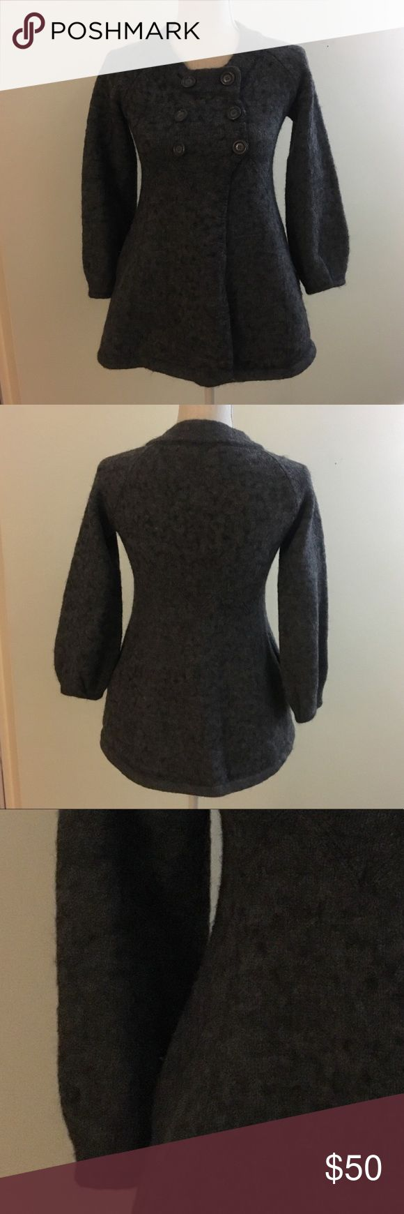 """French Connection Alpaca/Wool Blend Sweater Coat French Connection Gray Alpaca/Wool Blend Sweater Coat.  Double breasted button closure with side seam pockets.  45% Acrylic, 37% Alpaca, and 18% Wool.  Bust is 16"""" across (more stretch if needed) and length is 27"""". Gently worn and in great condition.  Size XS. French Connection Sweaters"""