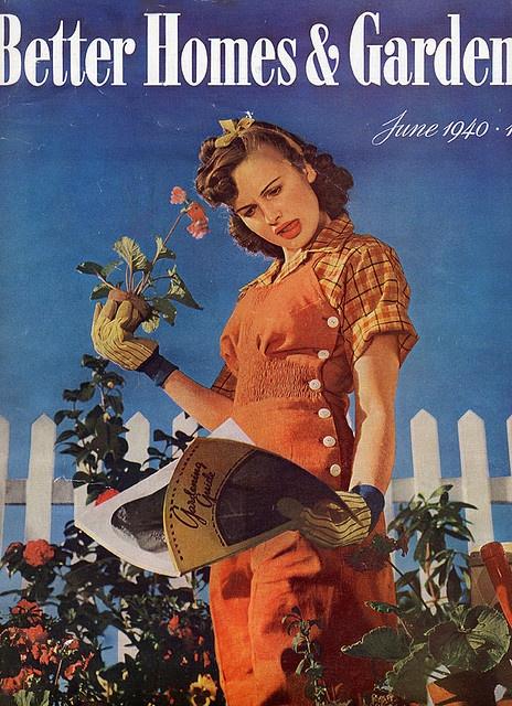 Gardening overalls, 1940s work shirt wear red orange tan buttons plaid jeans casual sportswear war era