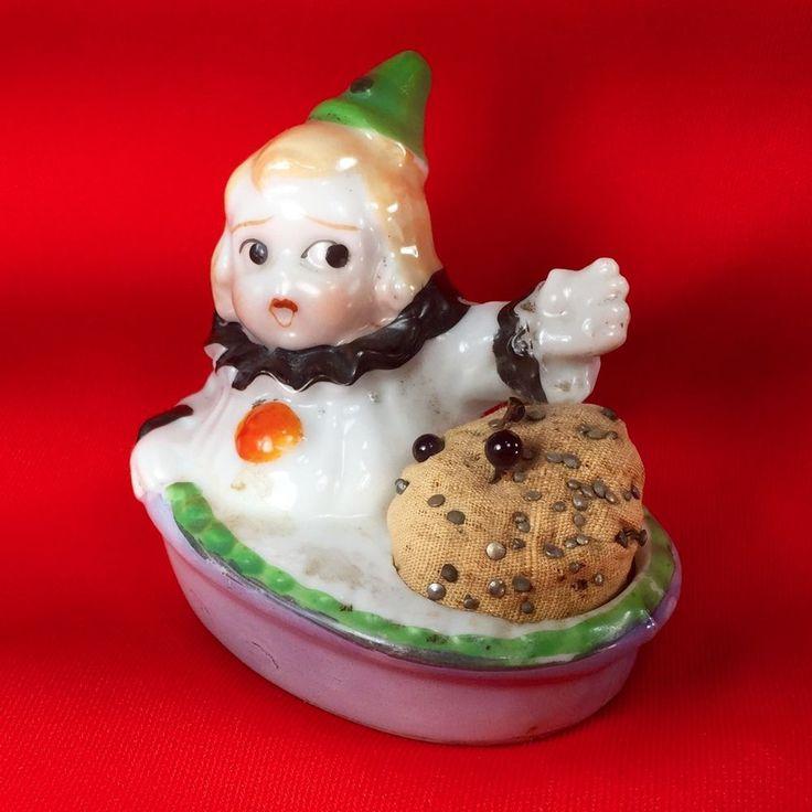 Antique Porcelain Novelty Pin Cushion Child Clown Suit Basket Made in Japan  | eBay