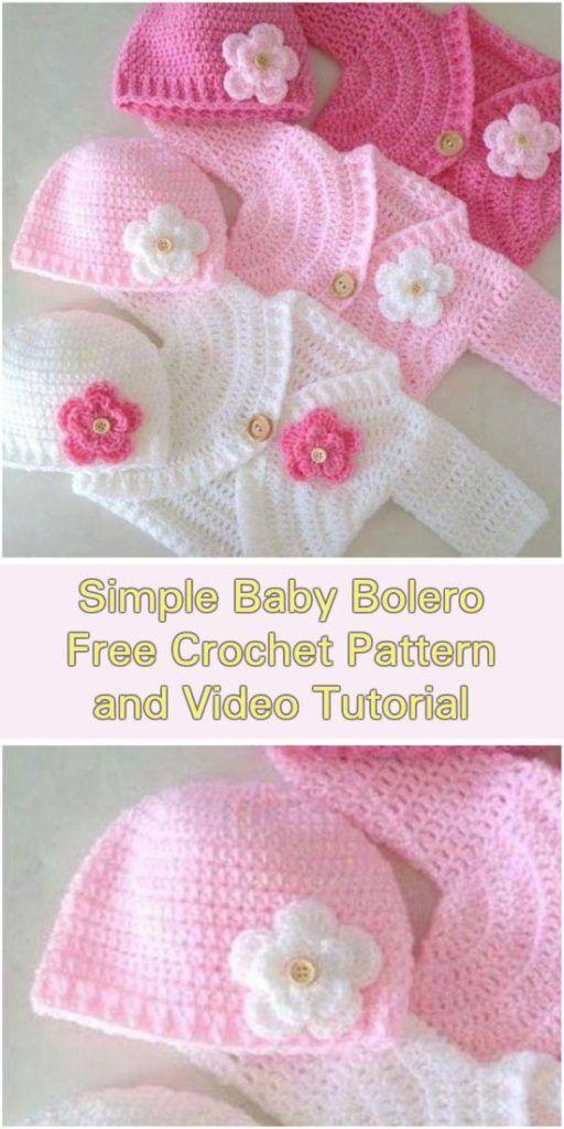 765c5047e Simple Baby Bolero Cardigan - Free Pattern and Video Tutorials ...