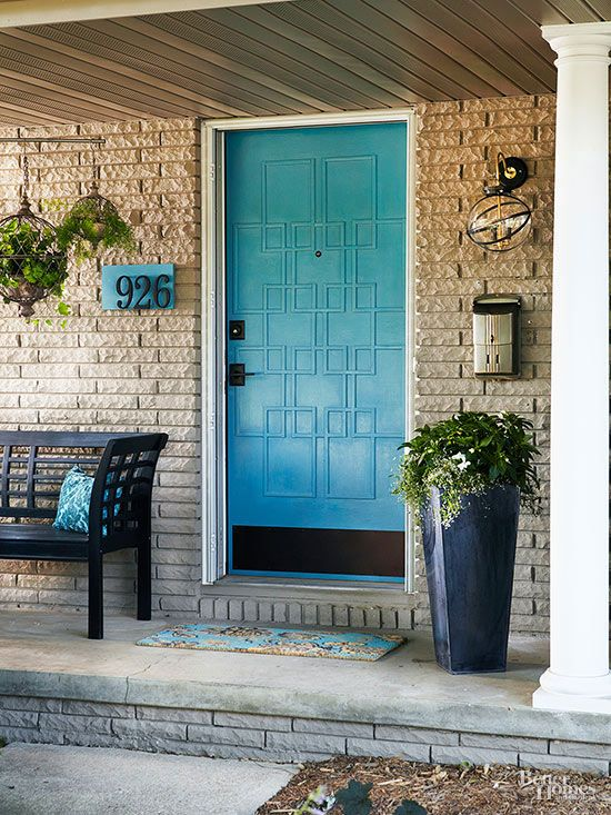 Achieve a contemporary vibe to draw curb appeal for your home with a patterned door: http://www.bhg.com/home-improvement/door/exterior/modern-front-doors/?socsrc=bhgpin021915boldinblue&page=2