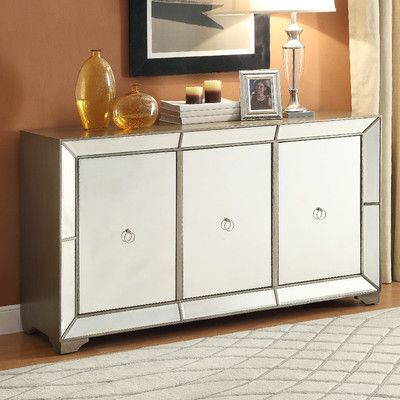 Powell Furniture Bombay Monterey Mirrored Sideboard In Antique Gold