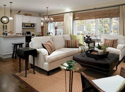 living room layout with open kitchen and dining -- love bamboo shades -- Candice Olsen design from Elle ~~
