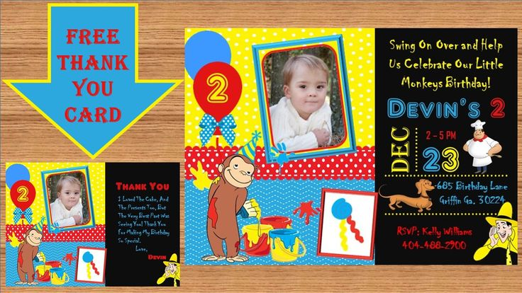 Curious George Invitation, Curious George Birthday, Curious George Party, Curious George Birthday Invitation,Curious George Invite, #0002 by kellylynn1973 on Etsy