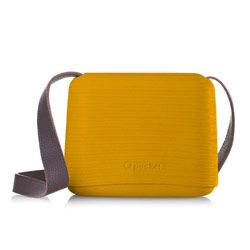O Pocket in Mustard with Brown Leather Strap. NEW for 2013 from Fullspot. The O pocket shoulder bag has a unique method of opening and closing - the top section slides up the handles to reveal the enclosure inside. The special EVA material of which the body is made is worked to make it look like Rattan/Wicker. Designed and made it Italy. Colours are 1950's pastels. Dimensions: width 21cm, height 16.5cm, depth 7.5cm. Shoulder bag