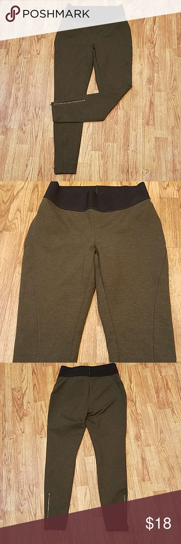 ANN TAYLOR LOFT Olive Thick Leggings Ankle Zip Olive/army green color. Thick Leggings with zipper ankles. Some light pilling in areas- most noticable on one hip pictured. Very comfortable, yet stylish. Stretchy. Thick black stretchy wasit band. Stitching detail on the front. LOFT Pants Leggings