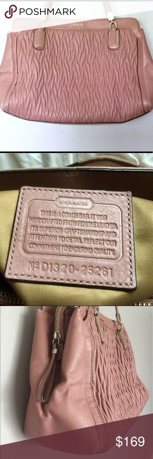 """Coach Madison supple twist leather pink satchel Authentic Coach bag.  Madison gathered twist leather in pink.  Supple leather that goes through special process to gather & twist.  Front snap pocket.  Inside two snap + one zip closure areas.  Cell/lipstick pockets all fabric lined.  No stains!!!  I used the hell outta this bag.  It looks fantastic (no kids).  Scuffs at bottom corners and handles.  7 1/2"""" handles.  Easy over shoulders or hand carry.  Bag: 14 1/2 x 12 1/4 x 6""""  Dusty Rose…"""