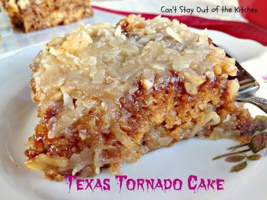 When you look at this tornado cake, it's pretty obvious why it's called that. It looks gooey and messy, just as if a tornado has passed through it. But don't let its appearance deceive you – it's an awesome cake. It tastes so good you'll want seconds, and it's very easy to make.
