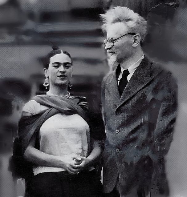 Frida Kahlo and Leon Trotsky, Mexico, He was exiled in Mexico from 1936 until he was assassinated in 1940. Kahlo and he had an affair when he lived with her and Rivera. (Trotsky's wife, Ruth, and another person were edited out of the photo. rw)