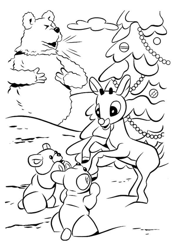 Rudolph The Red Nosed Reindeer Coloring Pages Playing In Snow Rudolph Coloring Pages Horse Coloring Pages Cartoon Coloring Pages
