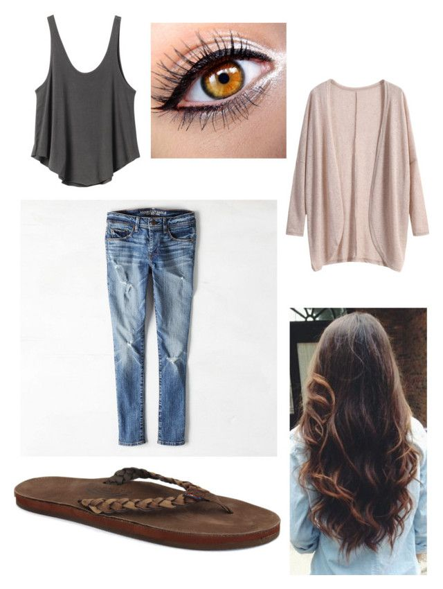 U0026quot;Airport Outfitu0026quot; by softball1218 liked on Polyvore featuring Rainbow Sandals American Eagle ...