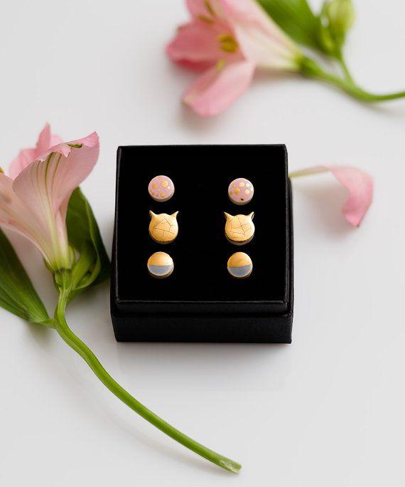Tiny earrings Gold stud polka dot earrings by ZuDesignJewelry