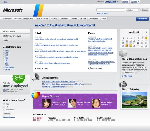 sharepoint intranet template
