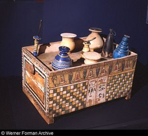 Ancient Egyptian Cosmetics Chest-Including exquisite Ancient Glass &Ceramic Perfume Bottles