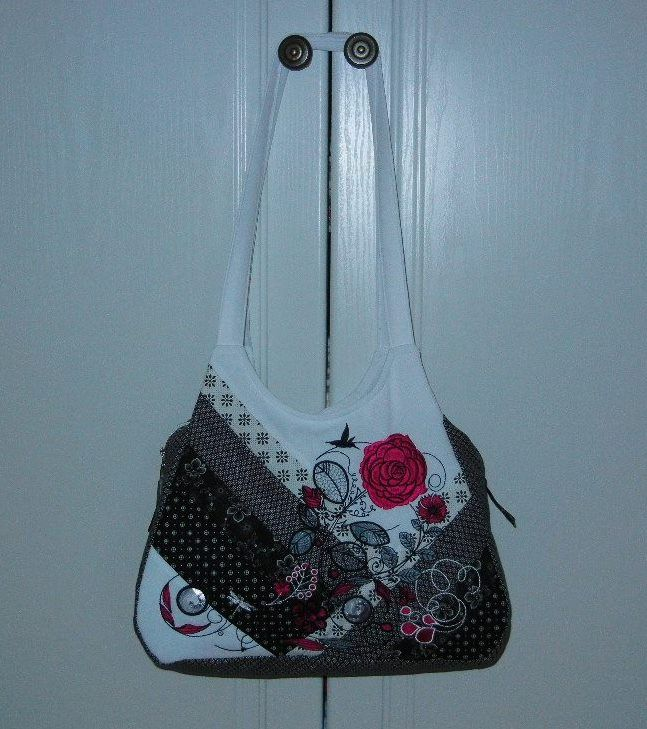 "A Touch of Red embroidered and quilted hand bag - fully lined with lots of room  inside.   Size - 12"" high x 14"" wide, 5"" Deep"