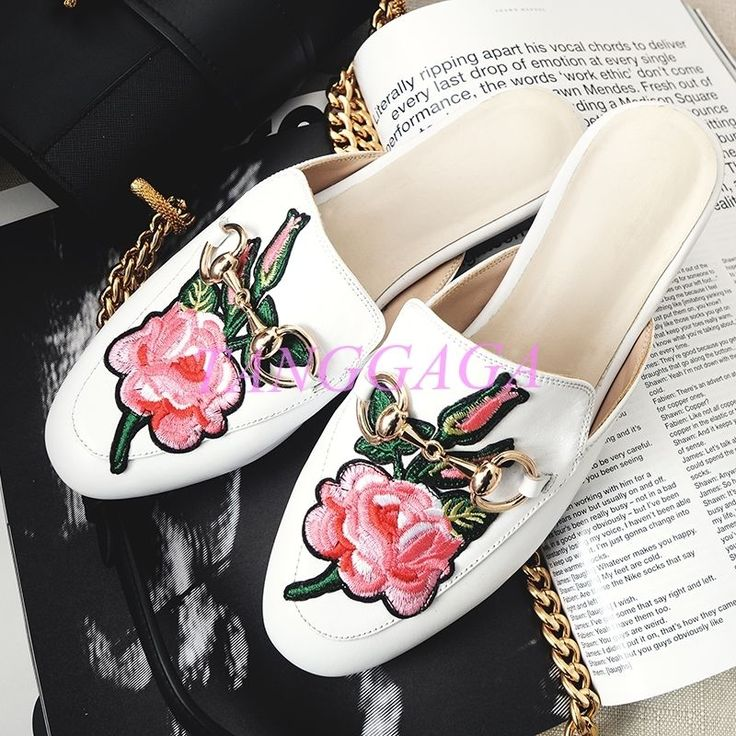 Stylish Women Low Heels Floral Slippers Clubwear Mules Horsebit Loafer Shoes