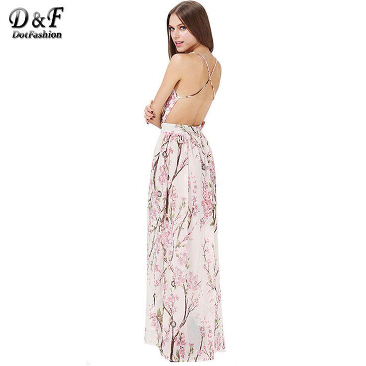 Dotfashion boho dress 2016 sommer mode frauen kleider sexy elegante partei  spaghetti strap backless blumendruck maxi