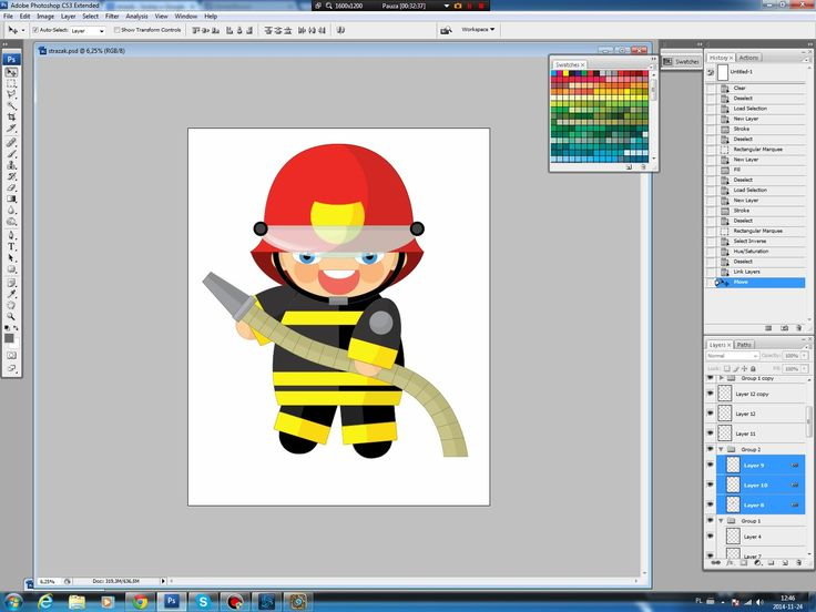 Illustrating drawing painting - cartoon fireman - rysowanie
